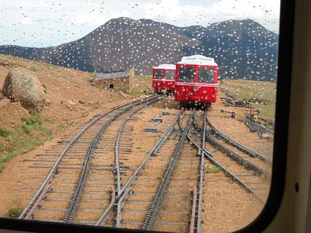 Mountain Train, Train, Mountains, Rainy, Rails, Tracks