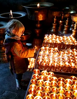 The Little Girl, Candle, Nepal, Church