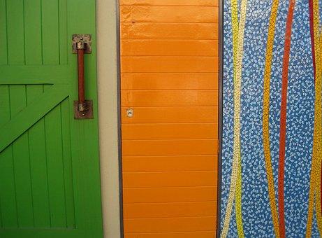 Three Panels, A Green Door, An Orange Panel, Panel