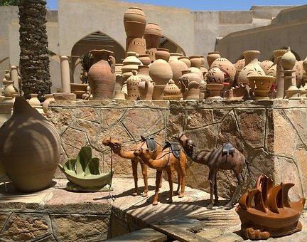 Oman, Camel, Travel, Arabian, Tourist, Souvenir, Pots