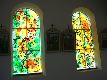 Glass Window, Artist Bernard Chardon, Chapel In Kressen