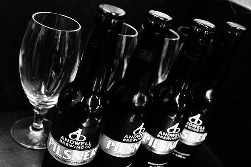 Beer, Ale, Glass, Beer Glasses, Black And White, Slate