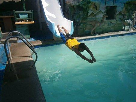 Water Slide, Boy, Jump, Swim, Water, Pool