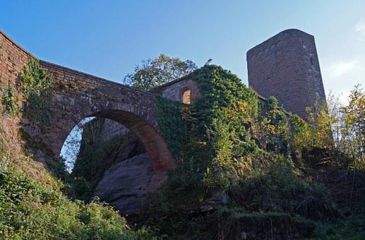 Castle, Ruin, France, Bridge, Ruin Of The Hunebourg