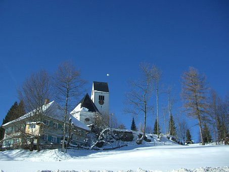 Oy Mittelberg, Church, Sky, Blue, Winter, Snow