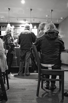 Coffee Shop, Woman Waiting For Friend, People Queuing
