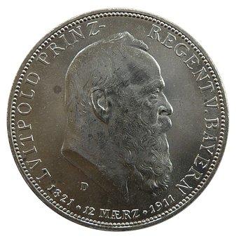 Mark, Bavaria, Luitpold, Coin, Currency, Numismatics