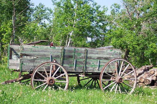 Vintage, Wagon, Country, Rural, Green, Wood, Pile