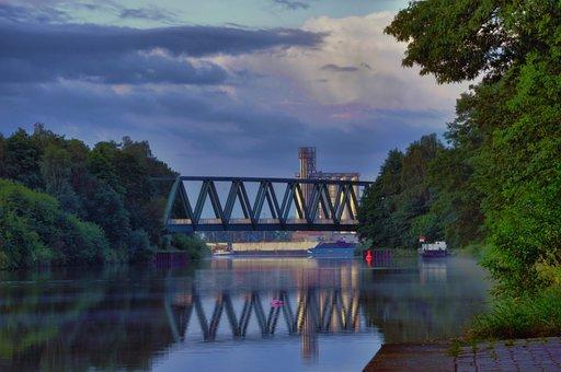 Bridge, Mittelland Canal, Water, Industry, Hdr, C-port