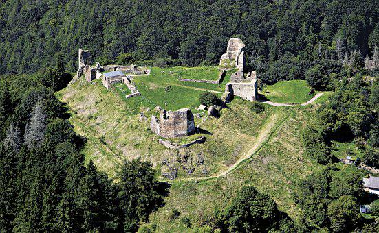 Castle, Lichnice, Aerial View, Iron Mountain, Podhradí