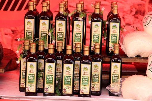 Oil, Olive Oil, Bottles, Eat, Food, Market