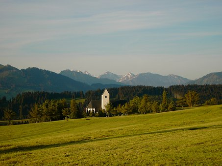 Oy Mittelberg, Allgäu, Church, Mountain Panorama