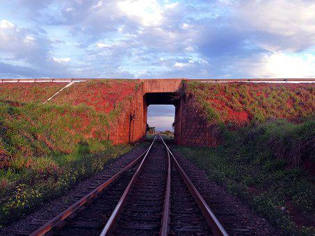 Train Line, Sky, Tunnel, Aparecida Do Taboado, Road