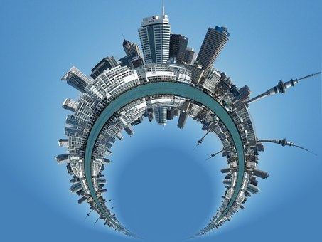 City, Skyline, District, Round, Arched, Human, Circle