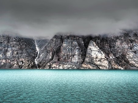 Baffin Island, Canada, Mountains, Sea, Ocean, Sky