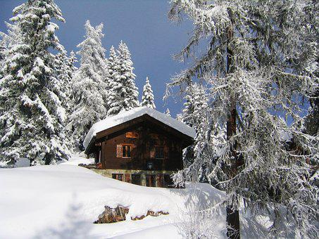 Snow, Chalet, Mountain, Switzerland, Bettmeralp