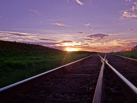 Train Line, Sky, Sunset, Aparecida Do Taboado
