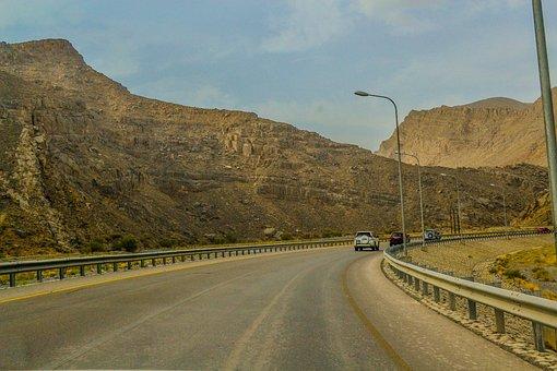 Street, Travel, Car, Mountain, Jebel Akhdar, Oman