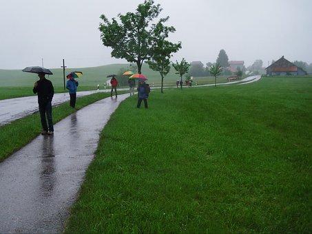 Wanderer, Rain, Umbrella, Fog, Sidewalk, Landscape