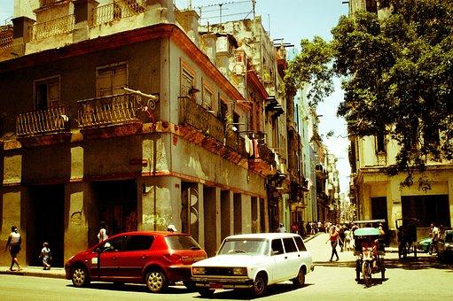Cuba, Street, Antique Car, People, Yesteryear, Corner