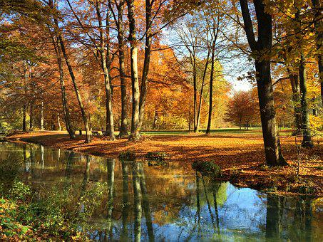 Munich, English Garden, Autumn, Bavaria, Park, Eisbach
