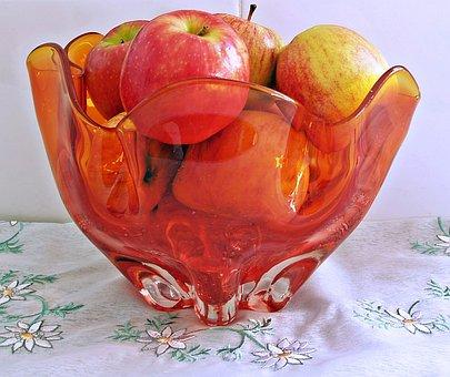Glass, Bowl, Apples, Red, Orange, Fruit Bowl, Retro