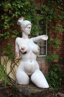 Sculpture, Modern, Art, Naked, Woman, Breasts