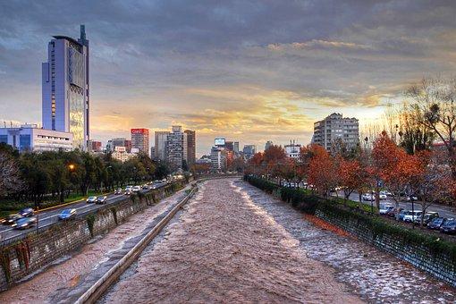 Sunset, Autumn, River, Mapocho, Santiago, Roads, City