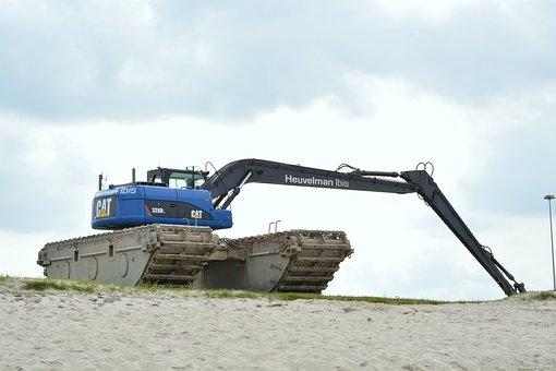 Excavators, Beach, Construction Machine, Blue, Shovel