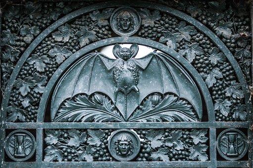 Bat, Door, Detail, Old, Dark, Cemetery, Horror, Mystery