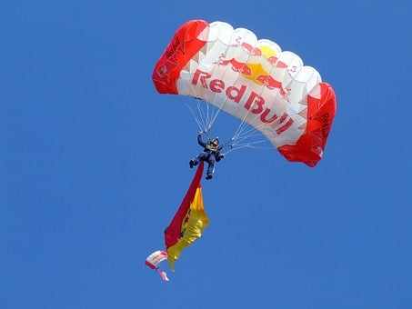 Parachuting, Red Bull, Chute, Skydive, Flying, Flight