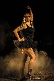 Ballet, Model, Flour, Dancer, Dust, Dance, Skirt, Black