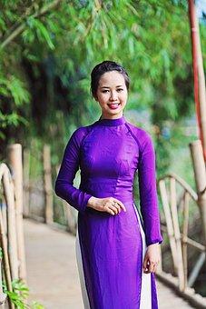 Vietnam, Long Dress, Vietnamese, National, Girl, Female