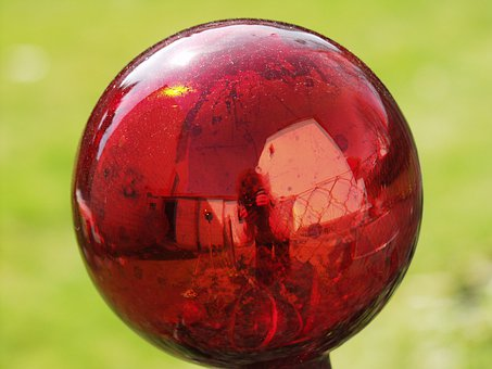 Rose Ball, Glass, Red, Reflections, Red Shimmer, Ball
