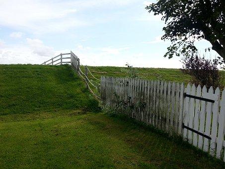 Fence, Meadow, Idyll, Terp, Hallig Hooge, Friesland