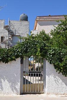 Garden Door, Door, Input, Entry, Mediterranean