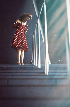 Girl, Pin-up Girl, Stairs, Ladder, Light, Window, Red