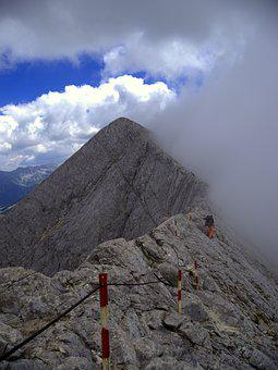 Pirin, Bulgaria, Mountains, Man, Clouds, Rocks