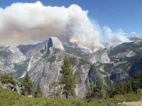 Yosemite, Forest Fire, National Park, Usa, Smoke, Cloud