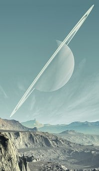 Saturn, Landscape, Planet, Sky, Mountains, Solid