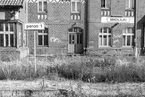 Poland, Railway Station, Black And White, Old