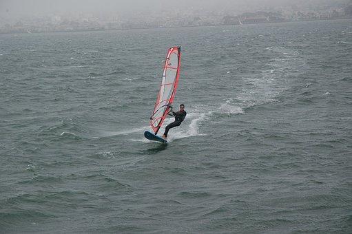 Sailboard, Sailboarder, Sports, Recreation, San, Bay