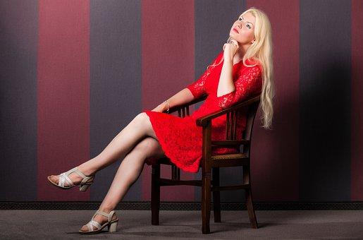 Woman, Dress, Red, Girl, Hair, Blonde, Elegance, Chair