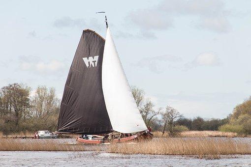 Ship, Flat Bottom, Friesland, Water, Boat, Sailing