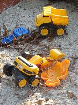 Sandbox, Toys, Sand, Childhood, Box, Yellow, Plastic