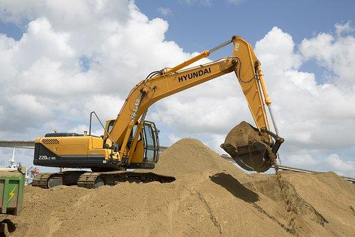 Excavation, Power Shovel, Excavator, Sand, Digger