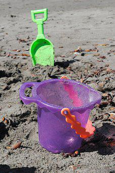 Kids Play, Beach, Sandcastle, Sand Toys, Shovel, Bucket