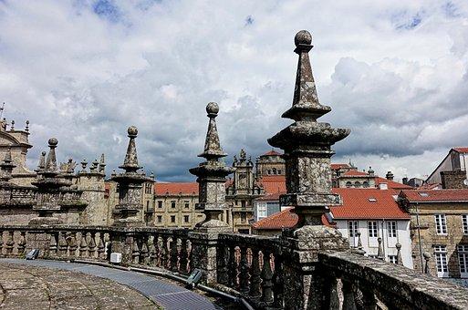 Santiago De Compostela, Cathedral, Rooftop, Fence