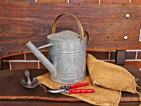 Watering Can, Secateurs, Trowel, Gardening, Hessian
