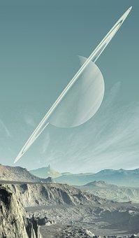 Saturn, Landscape, Planet, Sky, Mountains, Solid